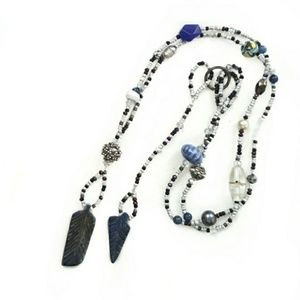 Artisan Carved Lapis Double Side Beaded Necklace